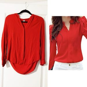 Red curved hem button front blouse old Navy xs